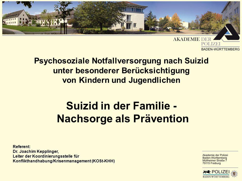 Suizid in der Familie - Nachsorge als Prävention