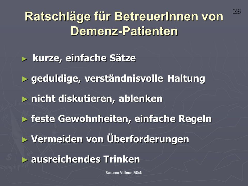 Ratschläge für BetreuerInnen von Demenz-Patienten