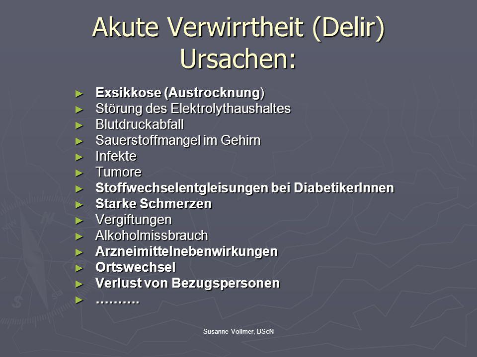 Akute Verwirrtheit (Delir) Ursachen:
