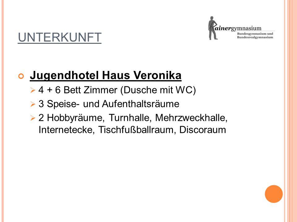 UNTERKUNFT Jugendhotel Haus Veronika 4 + 6 Bett Zimmer (Dusche mit WC)