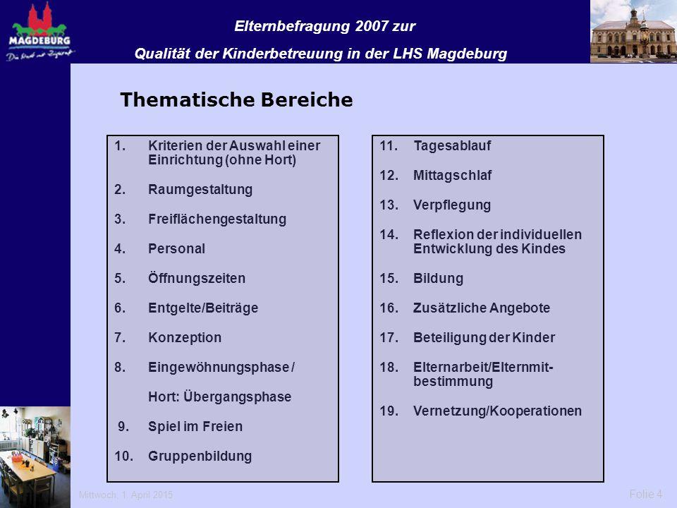 Qualität der Kinderbetreuung in der LHS Magdeburg