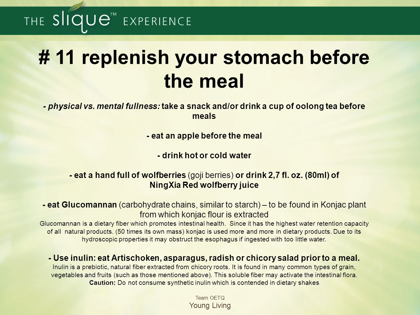 # 11 replenish your stomach before the meal - physical vs