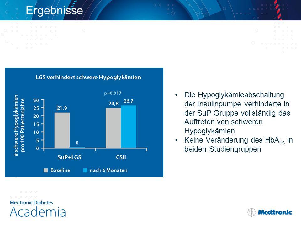 Ergebnisse Die Hypoglykämieabschaltung der Insulinpumpe verhinderte in der SuP Gruppe vollständig das Auftreten von schweren Hypoglykämien.
