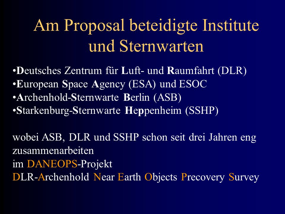 Am Proposal beteidigte Institute und Sternwarten