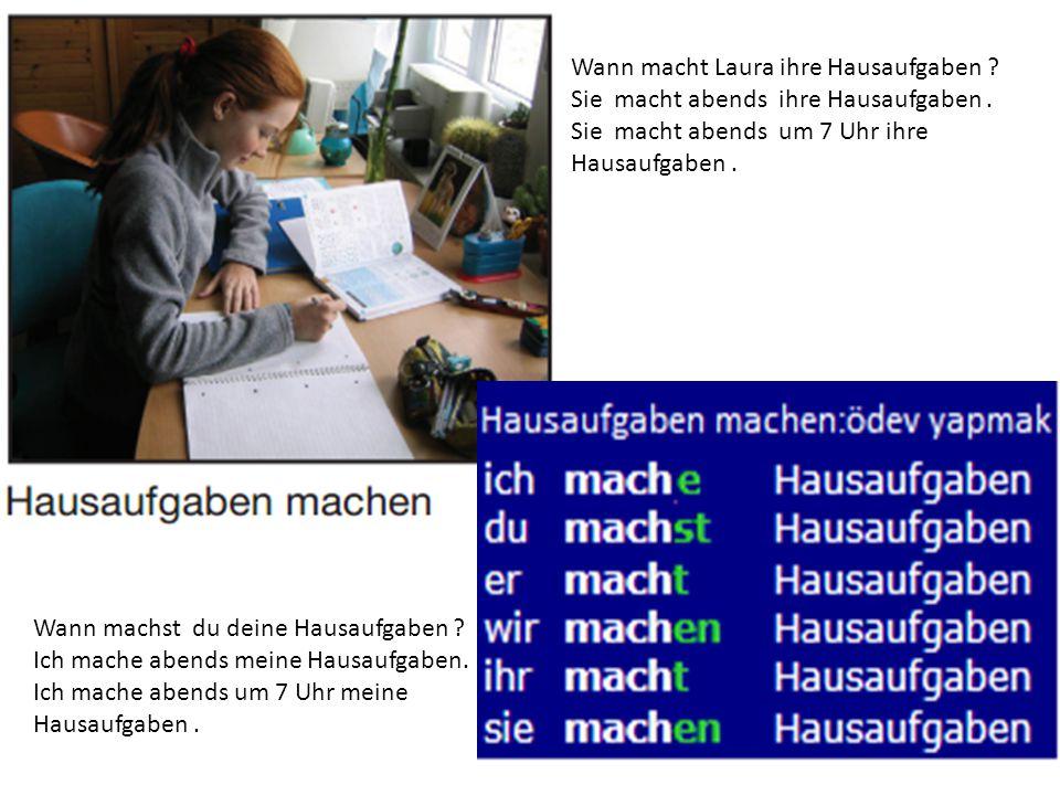 Wann macht Laura ihre Hausaufgaben