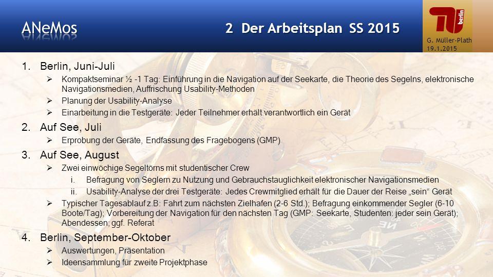 ANeMos 2 Der Arbeitsplan SS 2015 Berlin, Juni-Juli Auf See, Juli