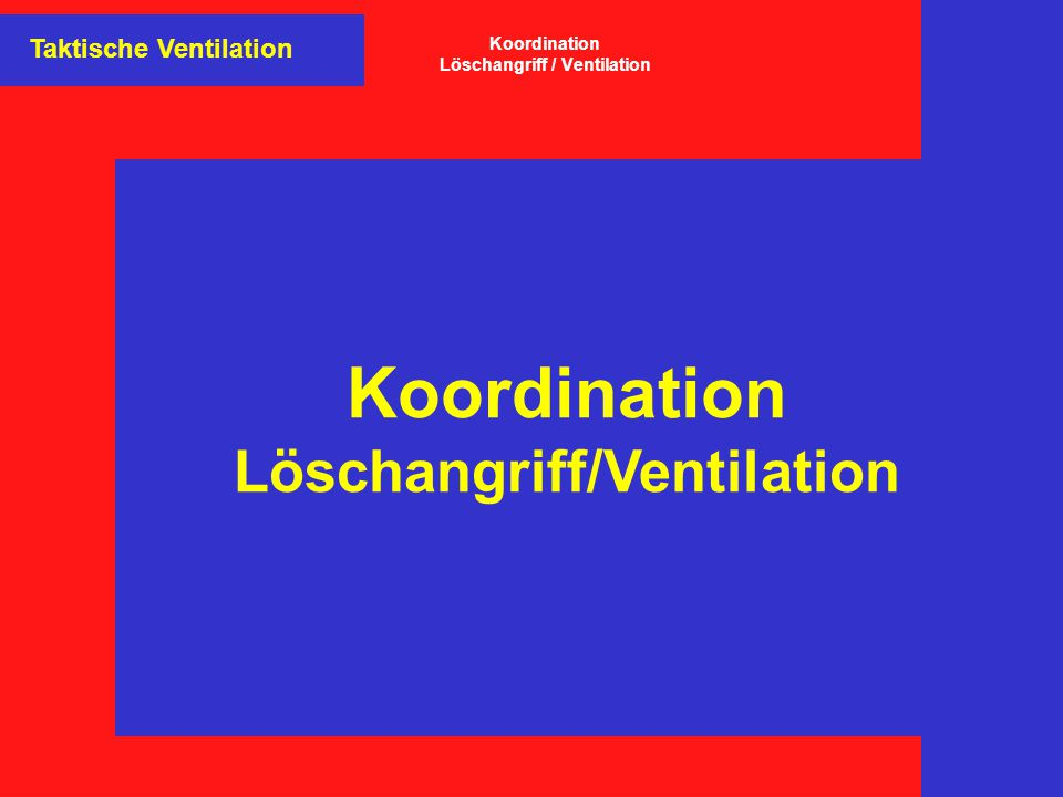 Koordination Löschangriff / Ventilation