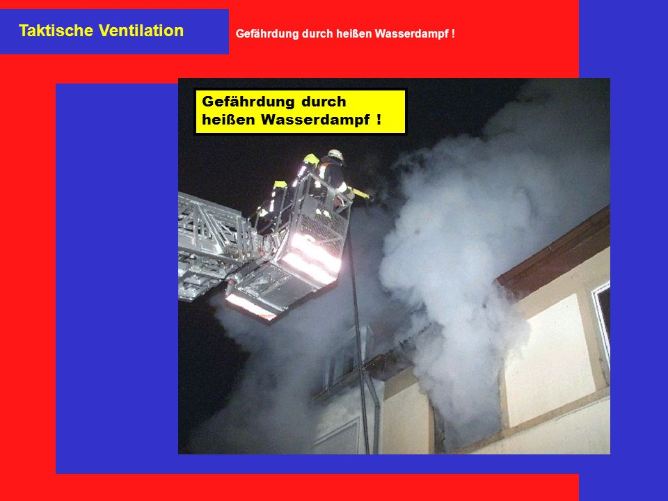 Gefährdung durch heißen Wasserdampf !