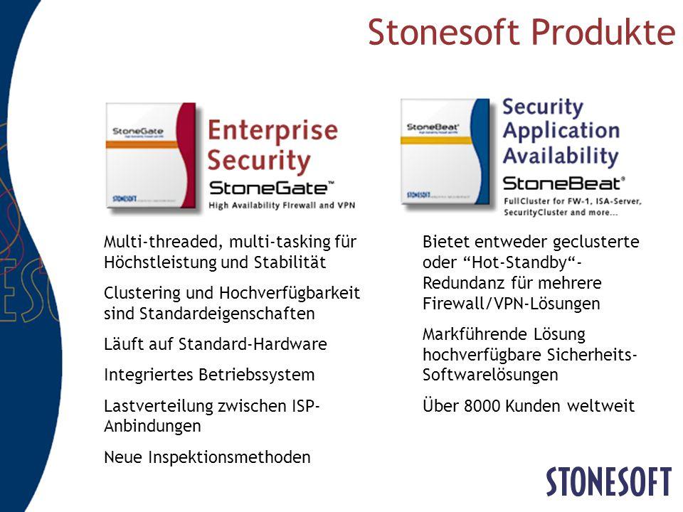 Stonesoft Produkte Multi-threaded, multi-tasking für Höchstleistung und Stabilität. Clustering und Hochverfügbarkeit sind Standardeigenschaften.