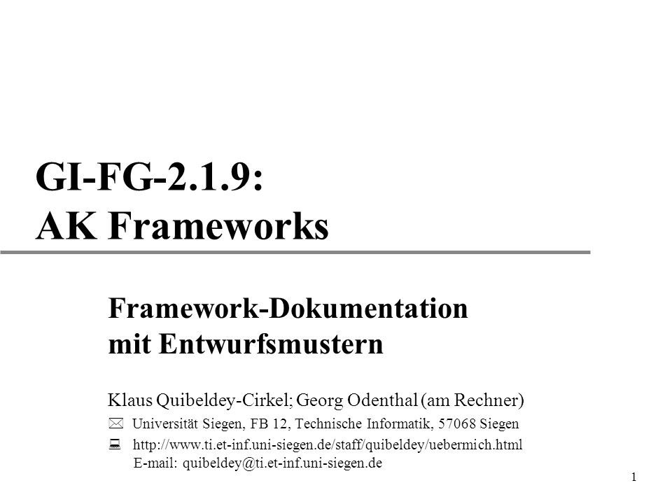 GI-FG-2.1.9: AK Frameworks Framework-Dokumentation mit Entwurfsmustern
