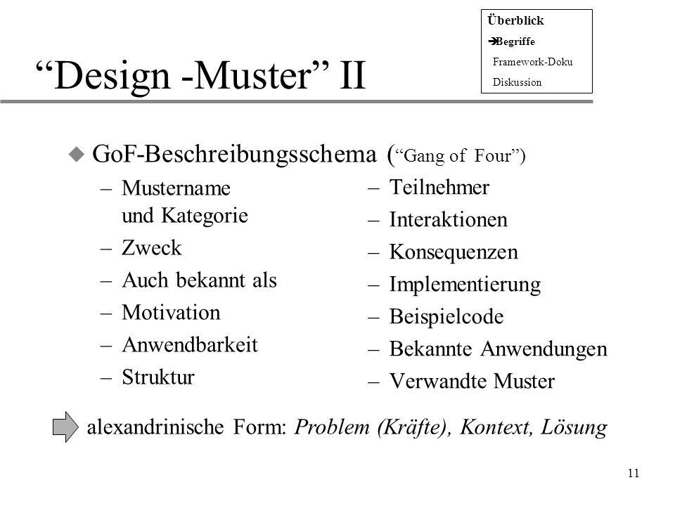 Design -Muster II GoF-Beschreibungsschema ( Gang of Four )