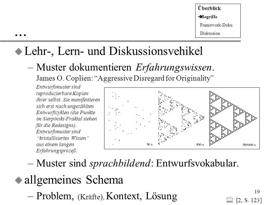 ... Lehr-, Lern- und Diskussionsvehikel allgemeines Schema