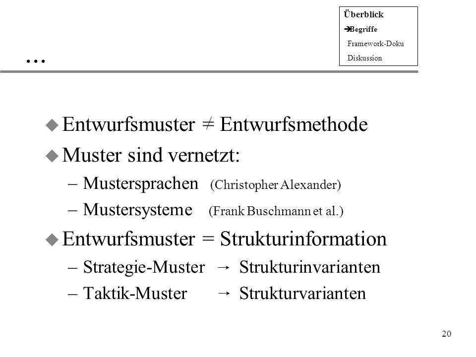 ... Entwurfsmuster = Entwurfsmethode Muster sind vernetzt: