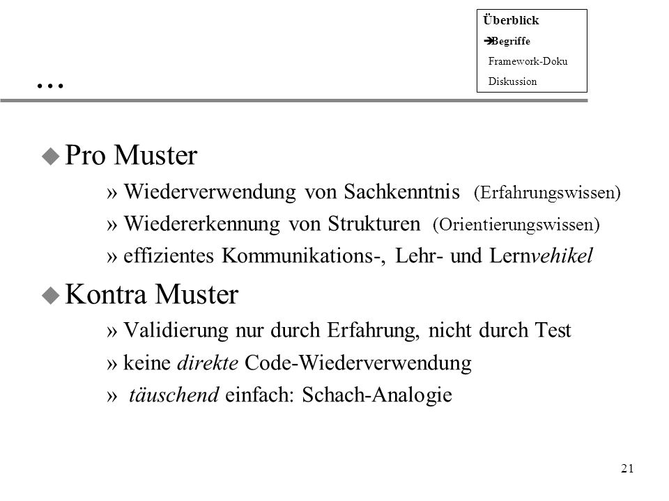 ... Pro Muster Kontra Muster