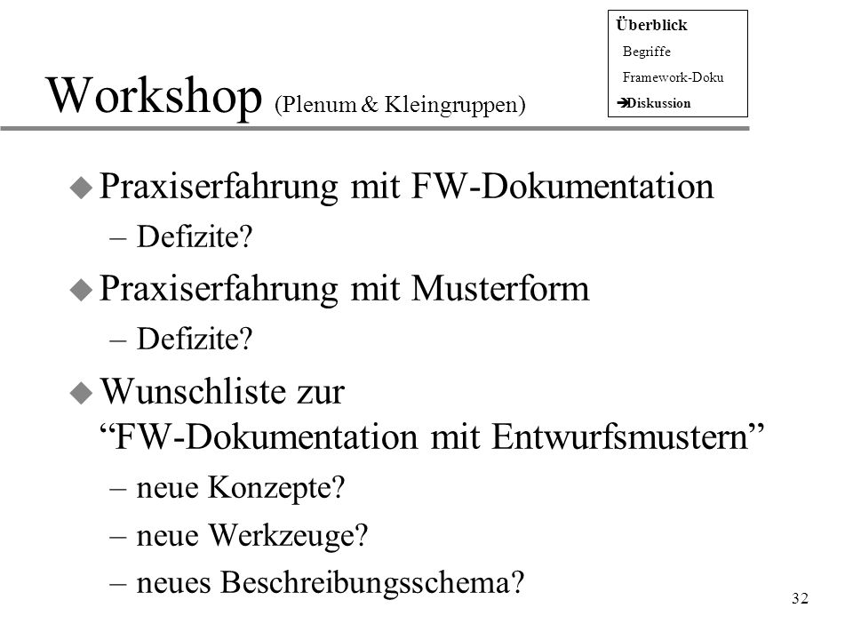 Workshop (Plenum & Kleingruppen)