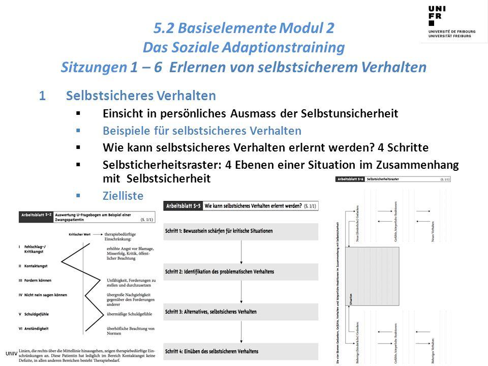 5.2 Basiselemente Modul 2 Das Soziale Adaptionstraining Sitzungen 1 – 6 Erlernen von selbstsicherem Verhalten