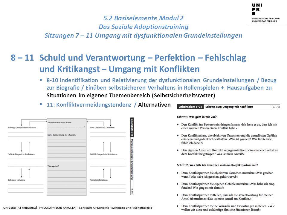 5.2 Basiselemente Modul 2 Das Soziale Adaptionstraining Sitzungen 7 – 11 Umgang mit dysfunktionalen Grundeinstellungen