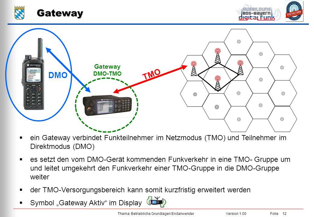 Gateway Gateway DMO-TMO. TMO. DMO. ein Gateway verbindet Funkteilnehmer im Netzmodus (TMO) und Teilnehmer im Direktmodus (DMO)