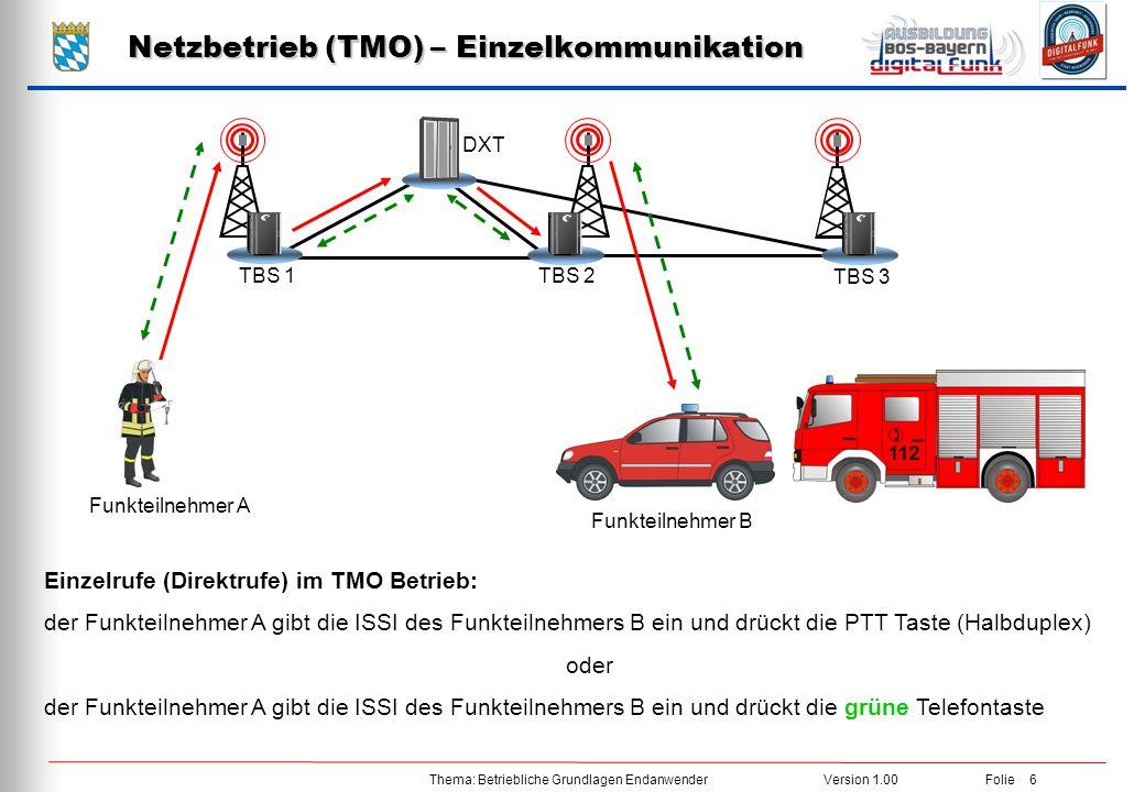 Netzbetrieb (TMO) – Einzelkommunikation