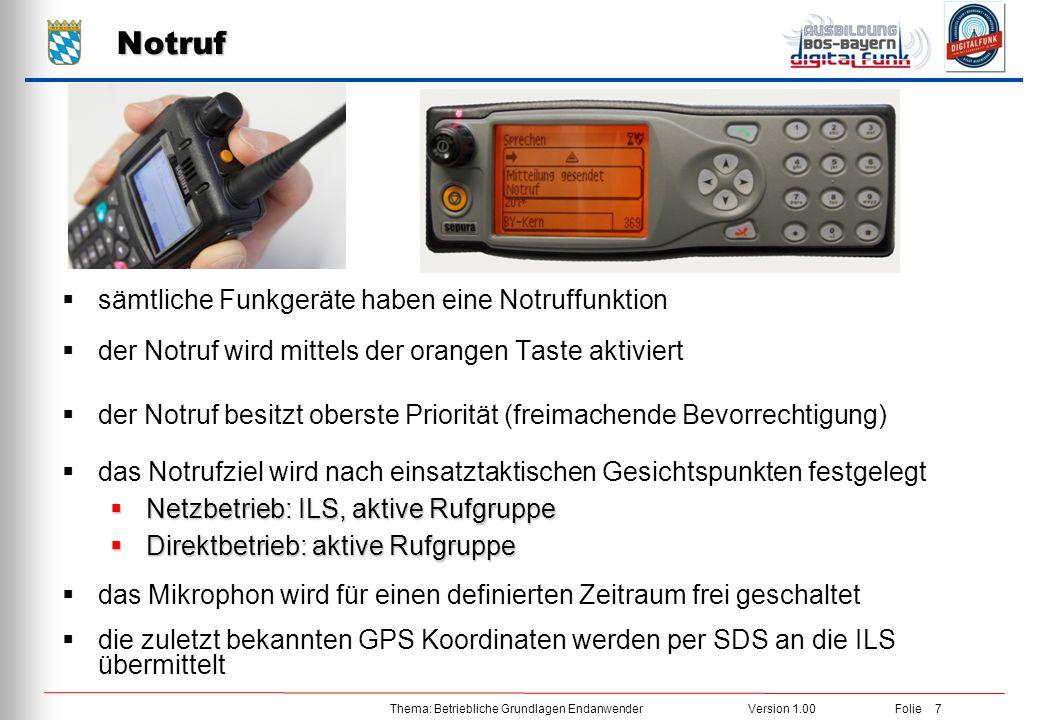 Notruf sämtliche Funkgeräte haben eine Notruffunktion