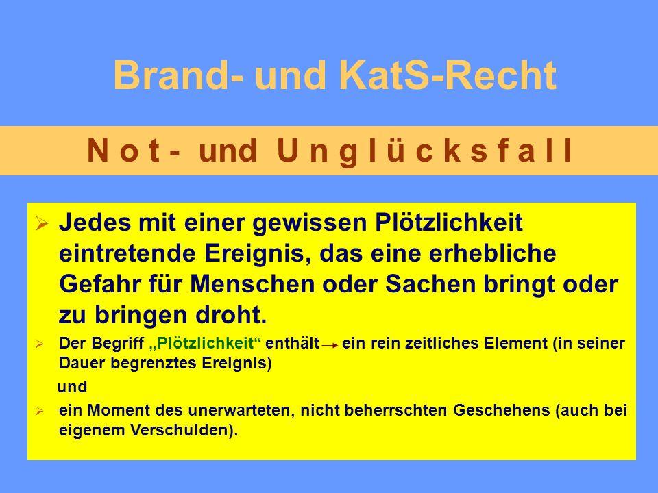 Brand- und KatS-Recht N o t - und U n g l ü c k s f a l l