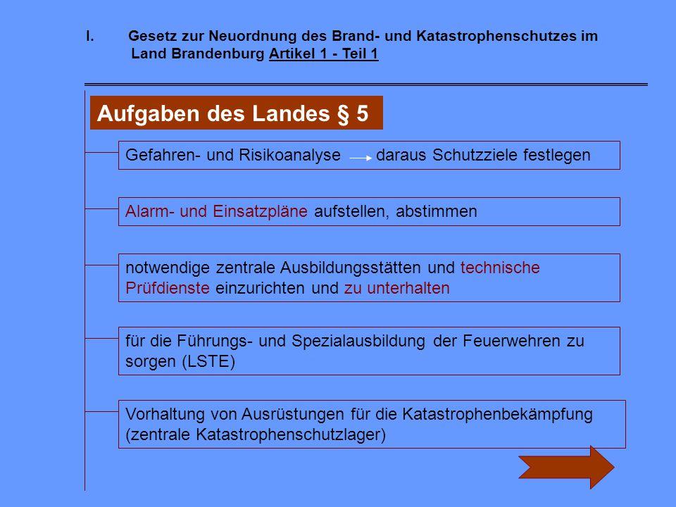 I. Gesetz zur Neuordnung des Brand- und Katastrophenschutzes im Land Brandenburg Artikel 1 - Teil 1