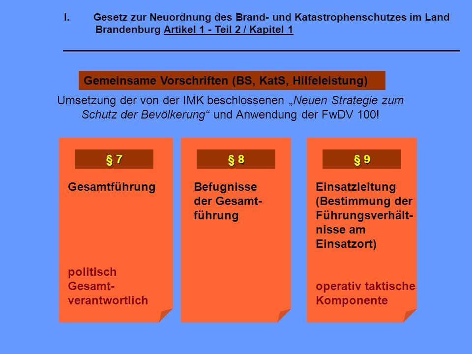 Gemeinsame Vorschriften (BS, KatS, Hilfeleistung)