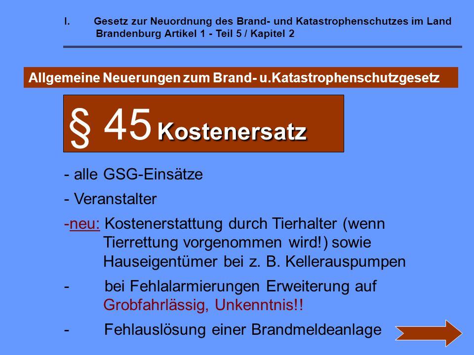 § 45 Kostenersatz alle GSG-Einsätze Veranstalter