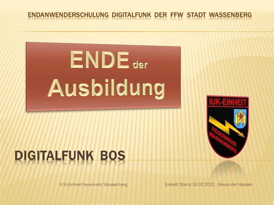 ENDANWENDERSCHULUNG DIGITALFUNK DER FF STADT WASSENBERG