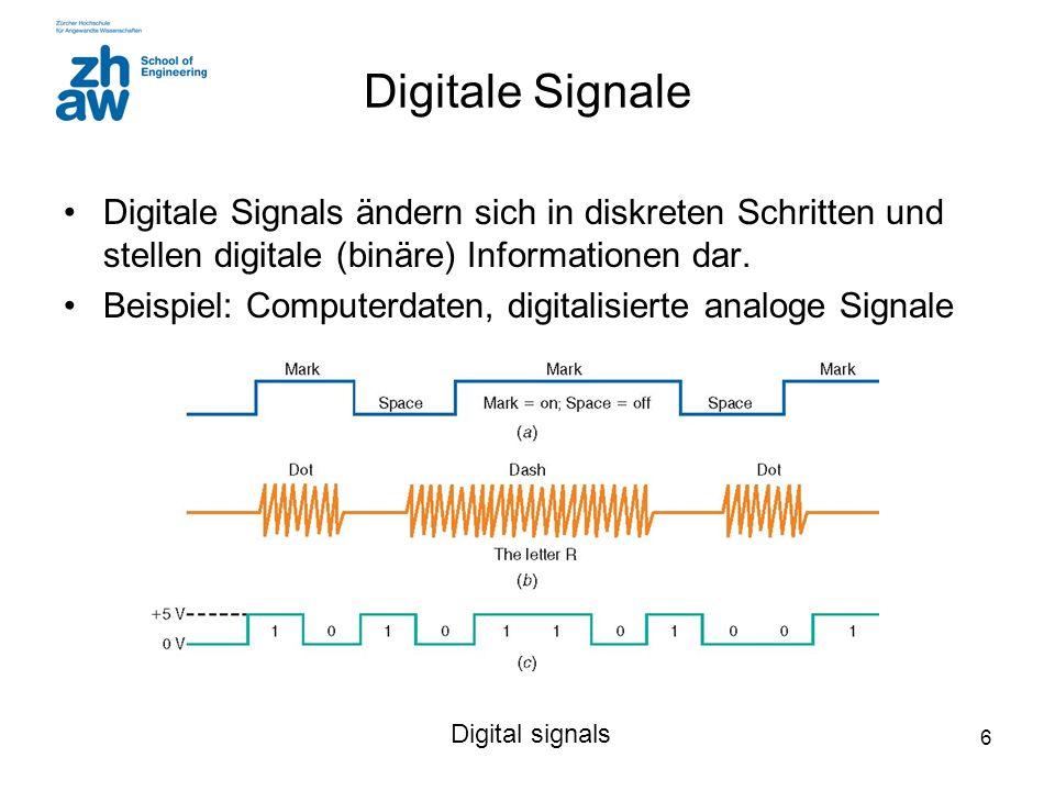 Digitale Signale Digitale Signals ändern sich in diskreten Schritten und stellen digitale (binäre) Informationen dar.