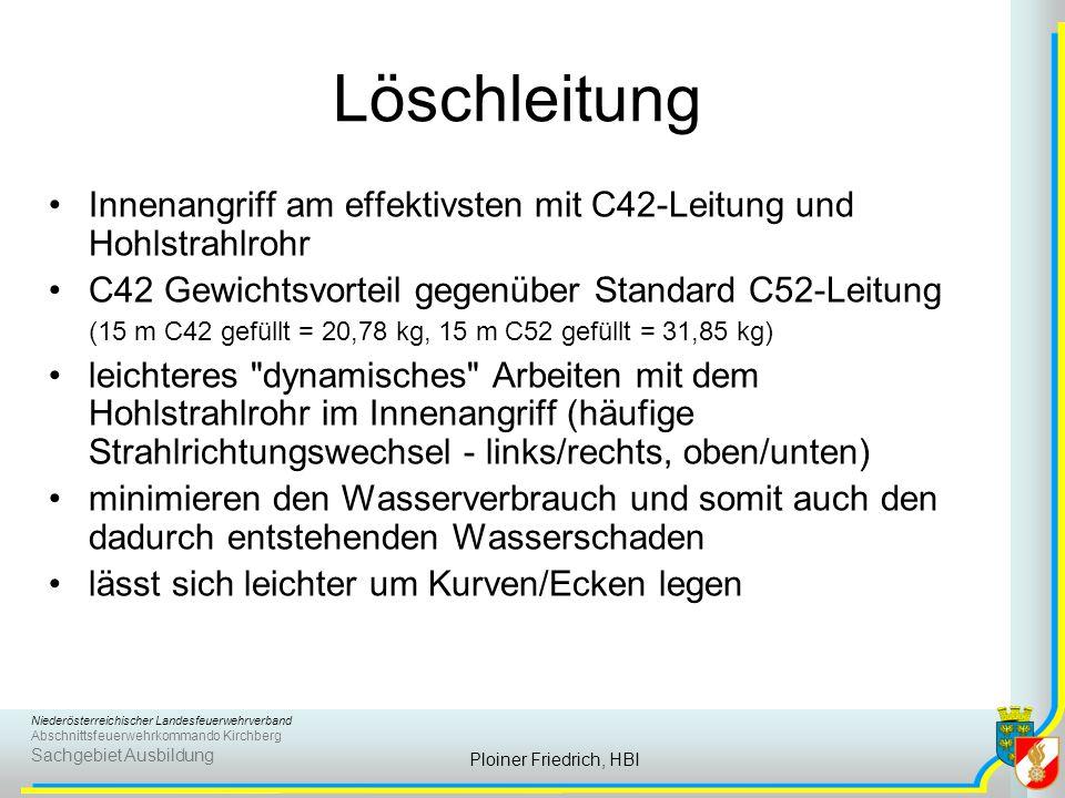 Löschleitung Innenangriff am effektivsten mit C42-Leitung und Hohlstrahlrohr.