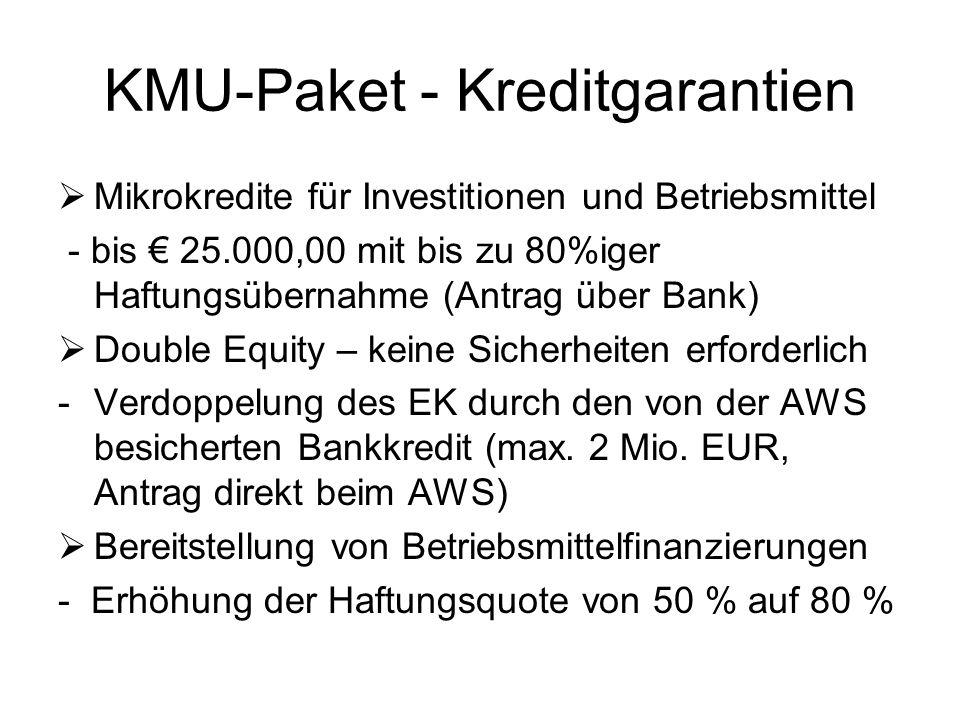 KMU-Paket - Kreditgarantien