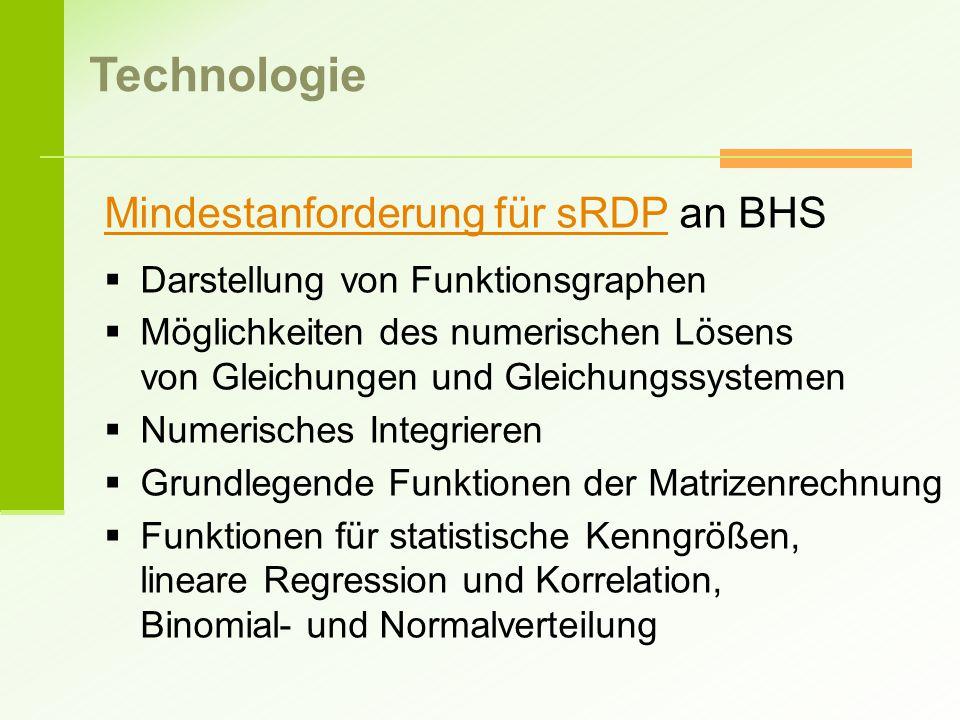 Technologie Mindestanforderung für sRDP an BHS