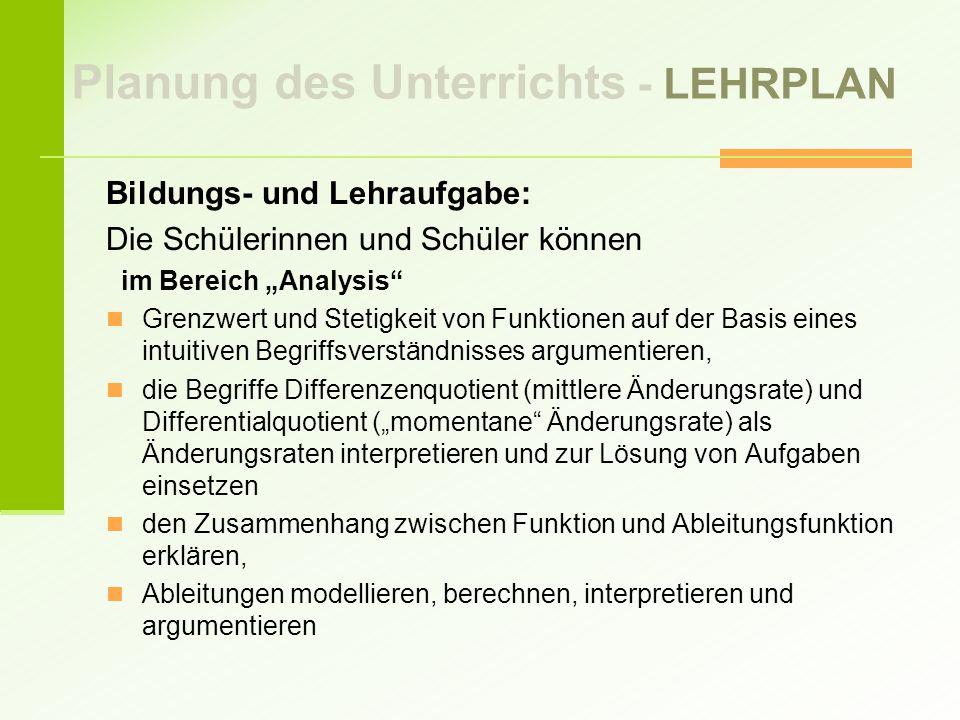 Planung des Unterrichts - LEHRPLAN