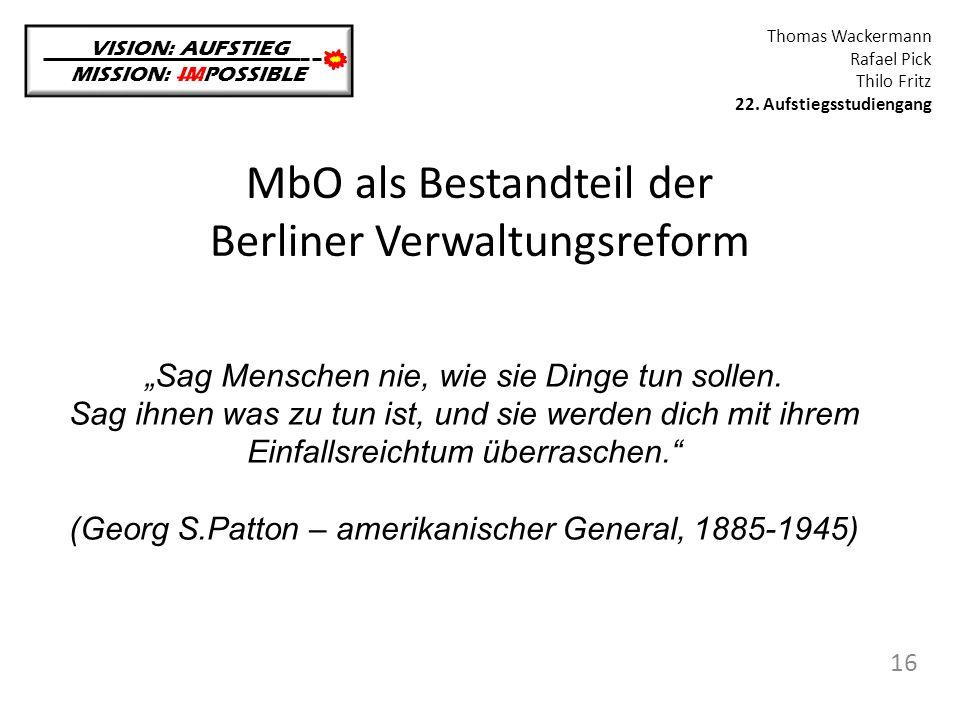 MbO als Bestandteil der Berliner Verwaltungsreform