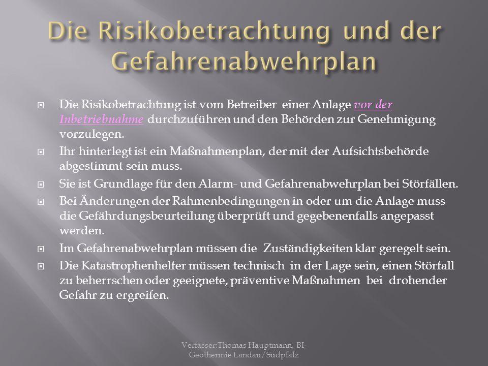Die Risikobetrachtung und der Gefahrenabwehrplan