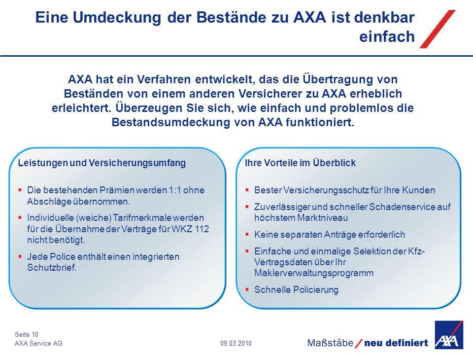 Eine Umdeckung der Bestände zu AXA ist denkbar einfach