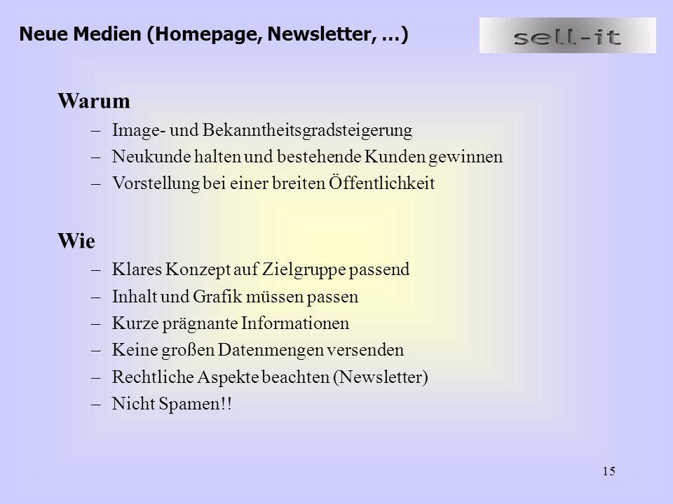 Warum Wie Neue Medien (Homepage, Newsletter, …)