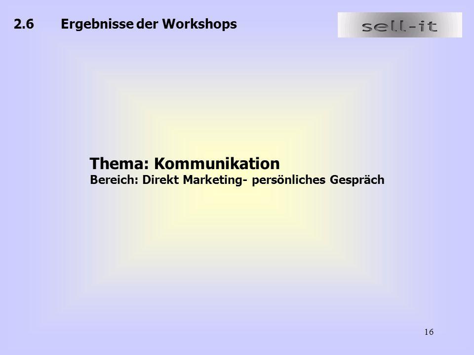 Thema: Kommunikation 2.6 Ergebnisse der Workshops