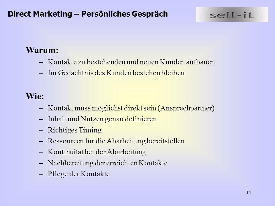 Warum: Wie: Direct Marketing – Persönliches Gespräch