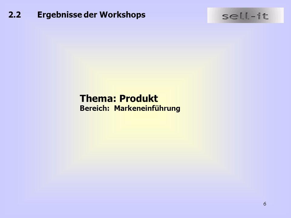Thema: Produkt 2.2 Ergebnisse der Workshops Bereich: Markeneinführung
