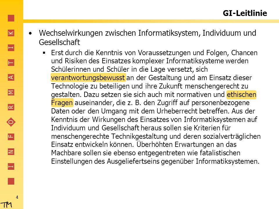 GI-Leitlinie Wechselwirkungen zwischen Informatiksystem, Individuum und Gesellschaft.