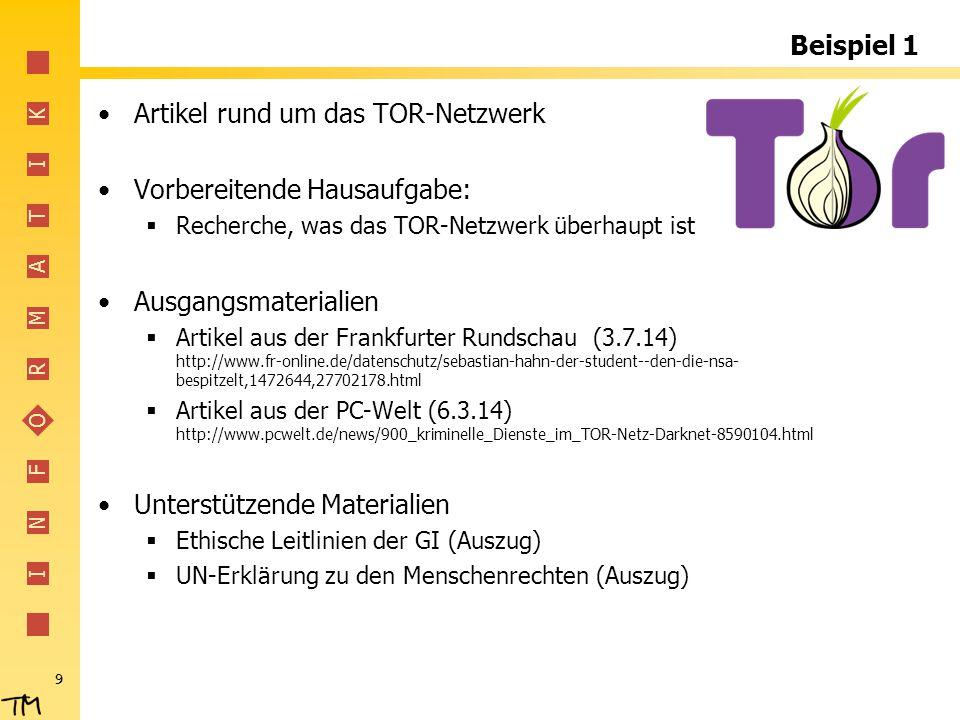 Artikel rund um das TOR-Netzwerk Vorbereitende Hausaufgabe: