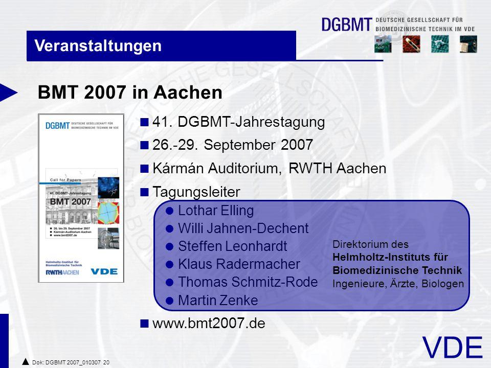 BMT 2007 in Aachen Veranstaltungen 41. DGBMT-Jahrestagung