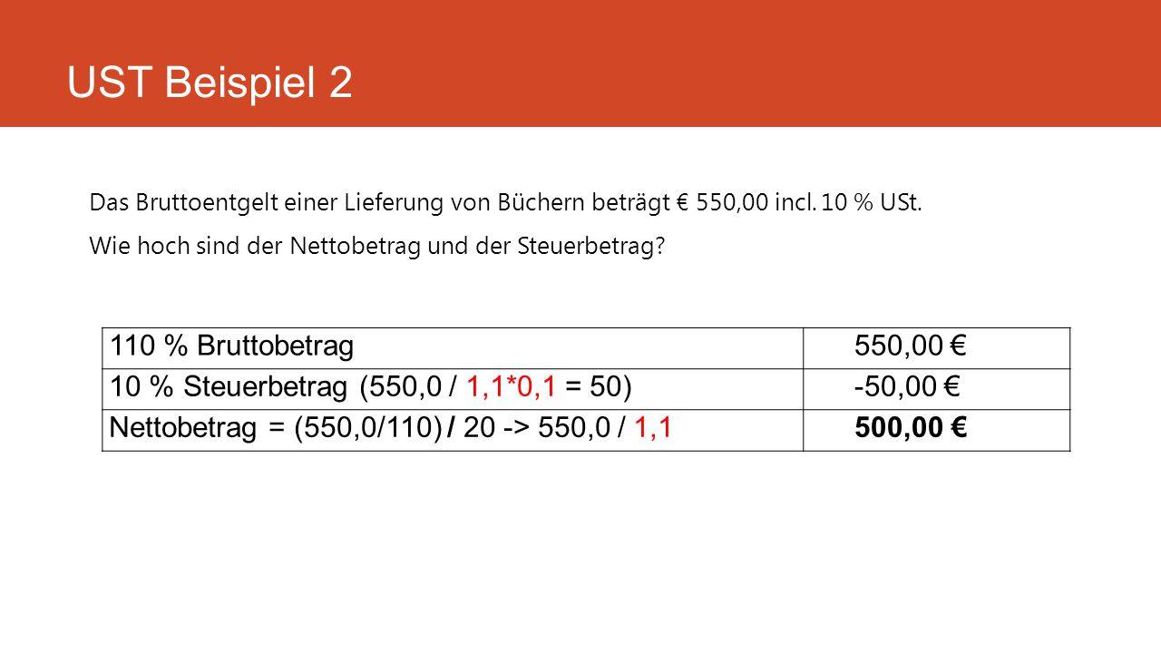 UST Beispiel 2 110 % Bruttobetrag 550,00 €