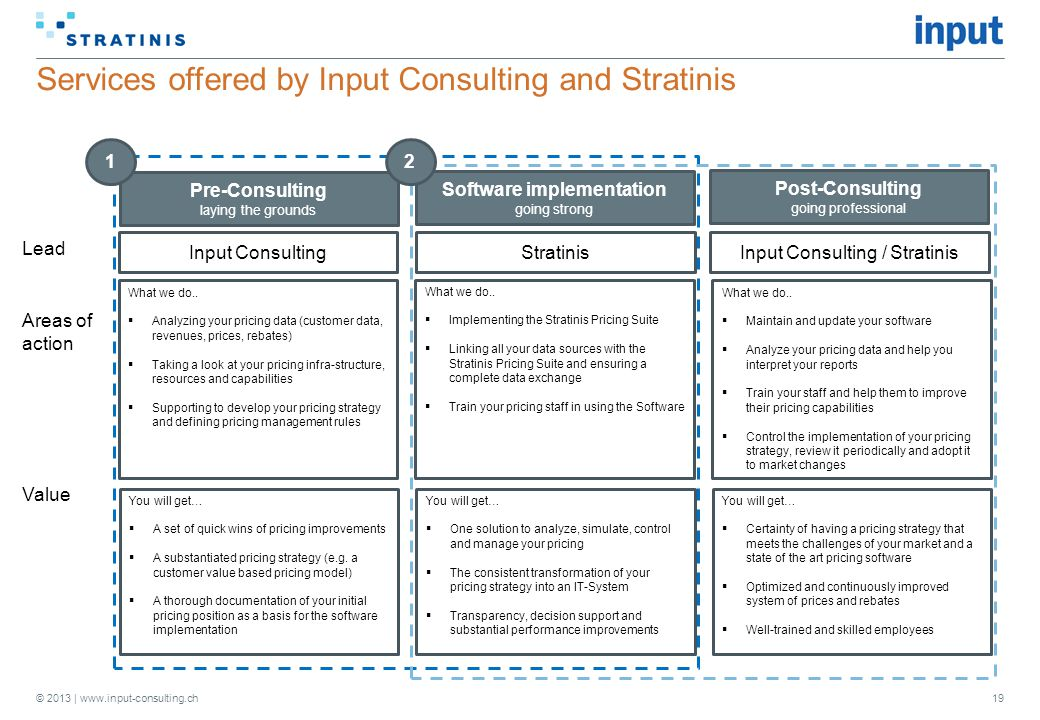 Services offered by Input Consulting and Stratinis