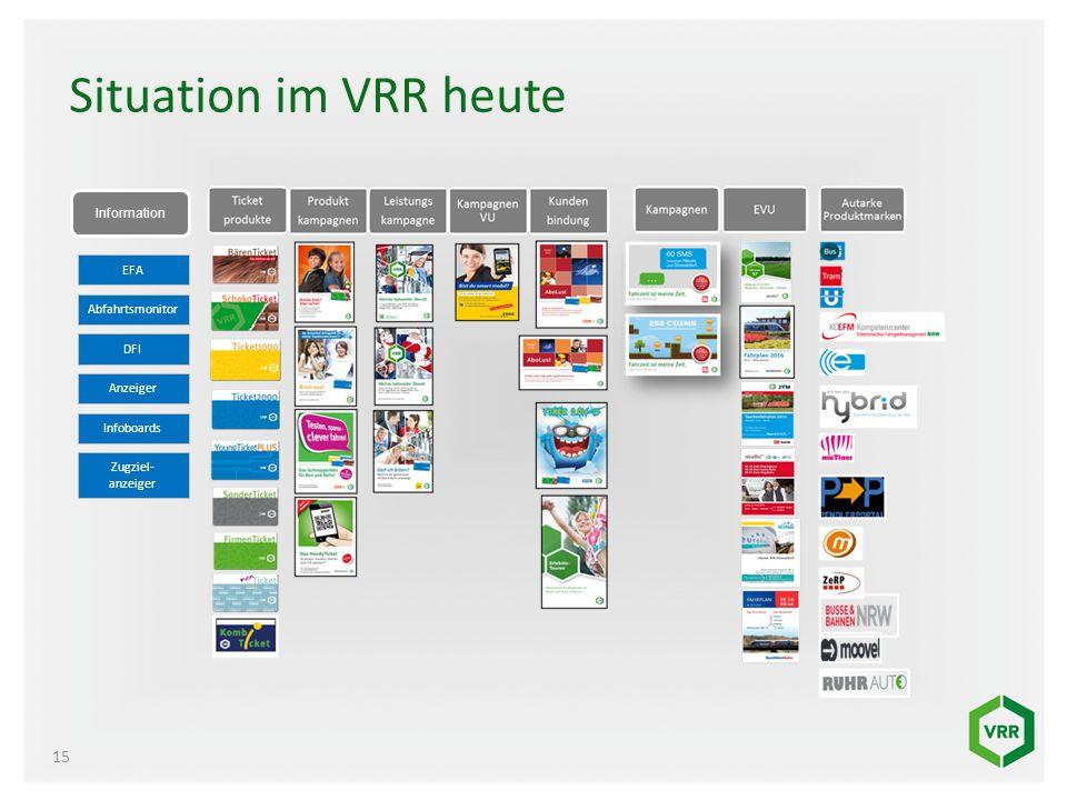 Situation im VRR heute Information EFA Abfahrtsmonitor DFI Anzeiger