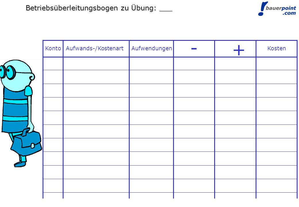 - + Betriebsüberleitungsbogen zu Übung: ___ Konto Aufwands-/Kostenart