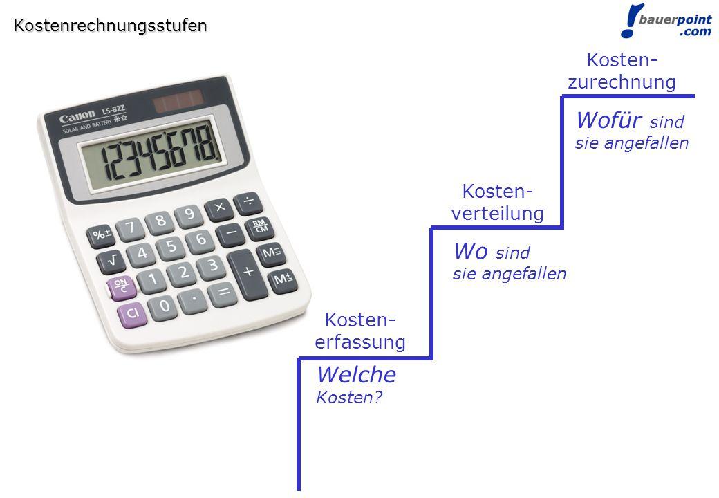 Wofür sind Wo sind Welche Kosten- zurechnung Kosten- verteilung