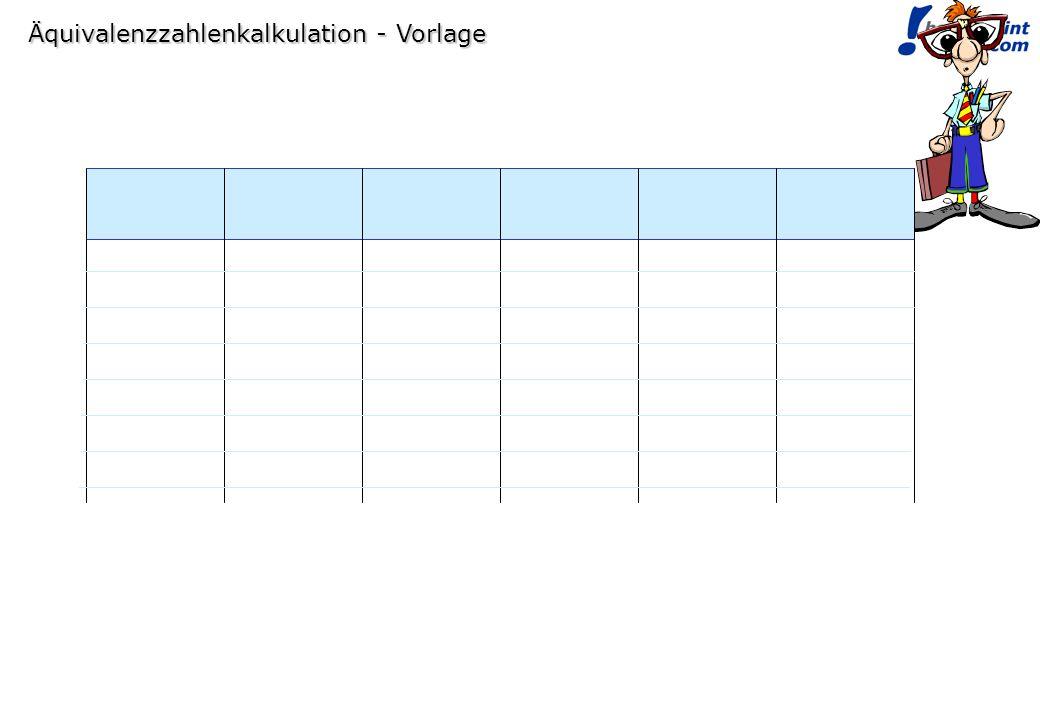 Äquivalenzzahlenkalkulation - Vorlage